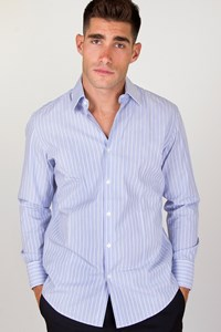 Boss Light Blue Striped Cotton Shirt / Size: 41 / 16 - Fit: M